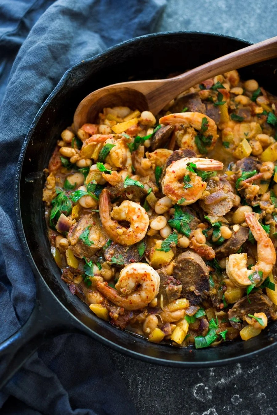 Spanish White bean, Shrimp and Sausage Skillet