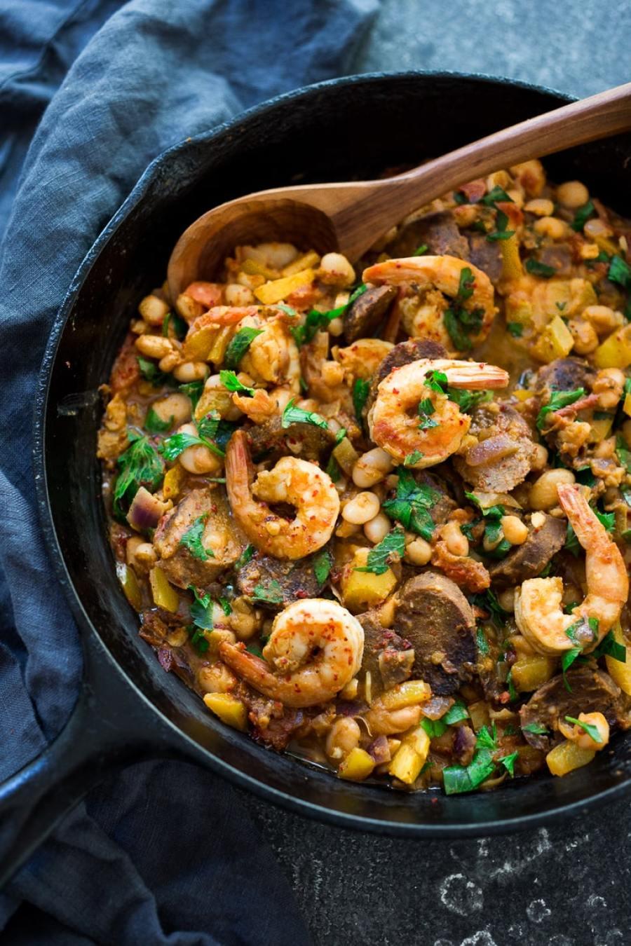 Spanish White bean, Shrimp and Sausage Skillet