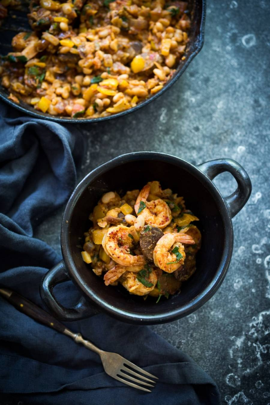 Spanish White bean, Shrimp and Sausage Skillet- a simple, healthy & flavorful, one-pan meal that can be on the table in 20 minutes!   www.feastingathome.com
