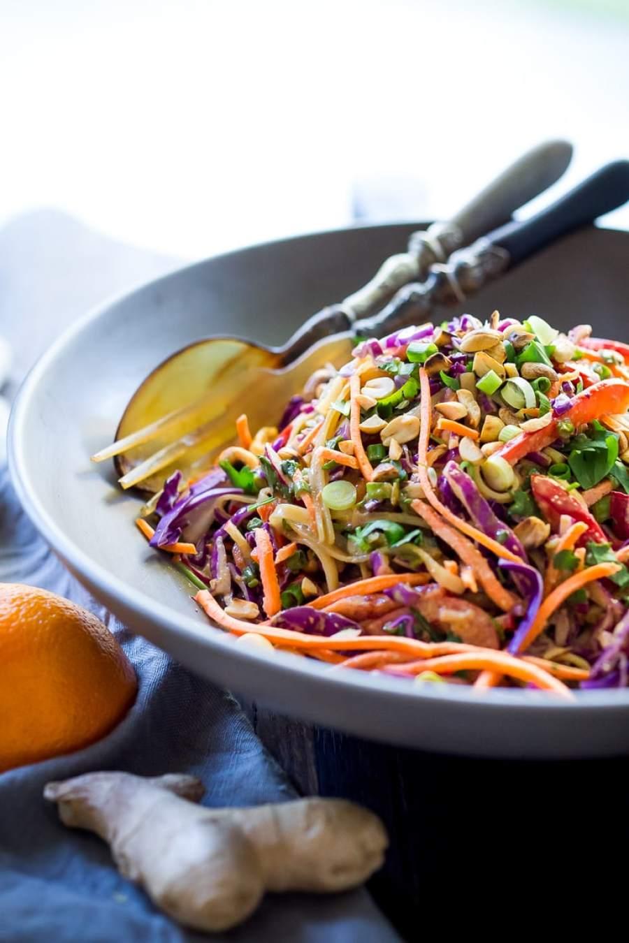 Thai Noodle Salad with Peanut Sauce- loaded up with healthy veggies and the BEST peanut sauce eeeeeeeeeever! Vegan & Gluten-Free | www.feastingathome.com