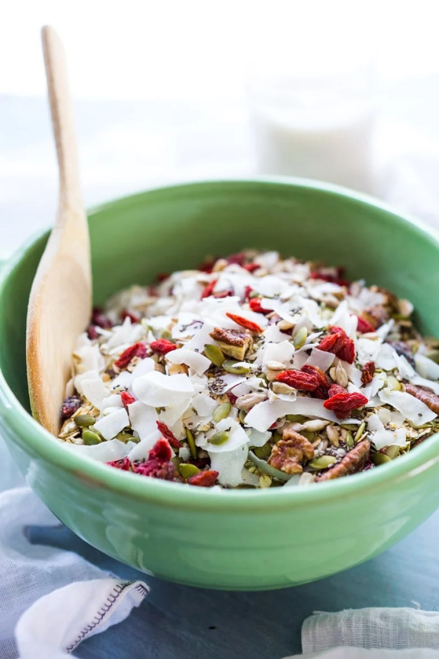 Morning Glory Muesli- a healthier, sugar-free, low-fat alternative to granola, that can be made ahead with ingredients you probably already have, and best of all, no cooking required! | www.feastingathome.com