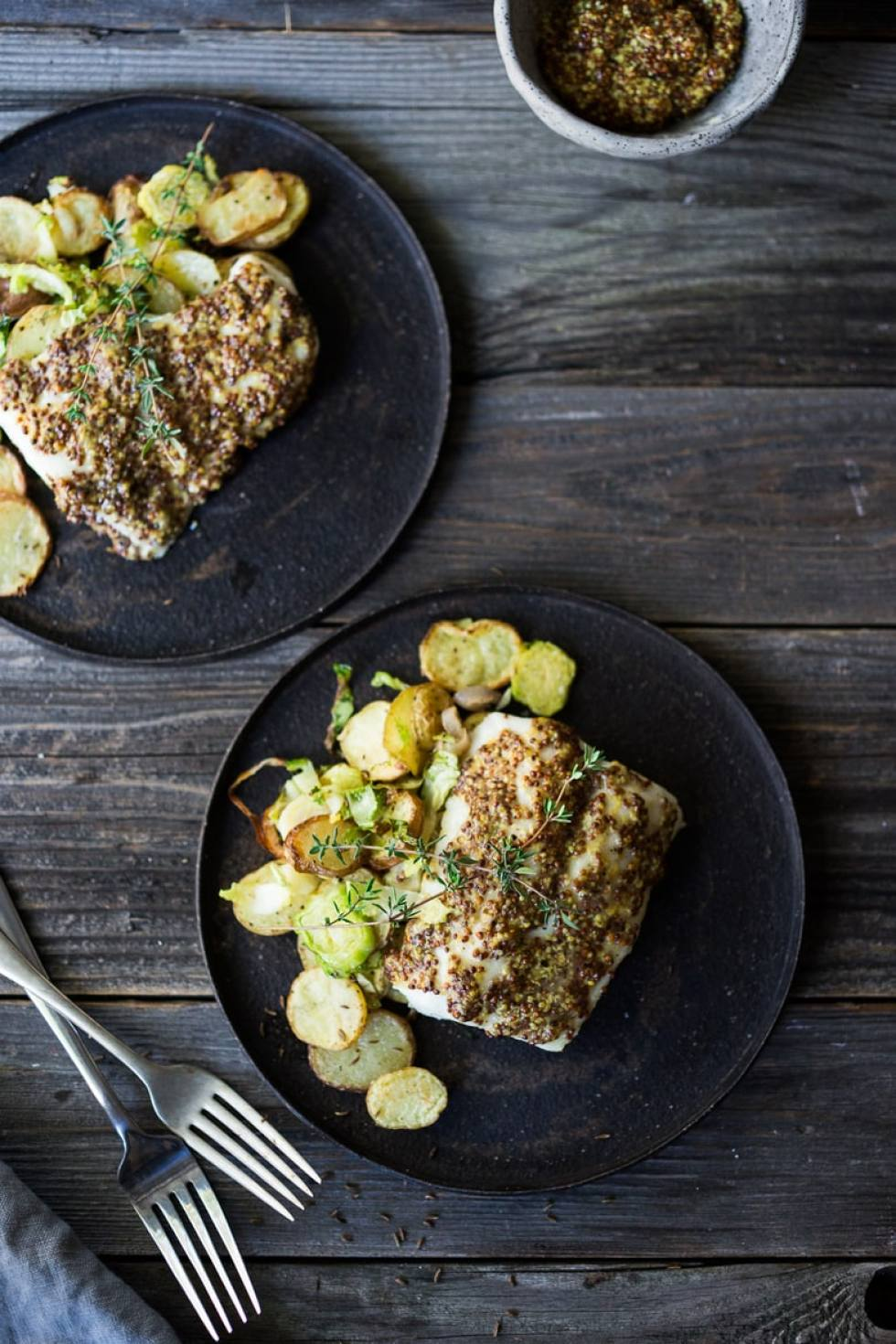 Roasted Mustard Seed White Fish with Potato-Brussel Sprout Hash, a simple, healthy sheet-pan dinner that is quick, easy and full of flavor. | www.feastingathome.com