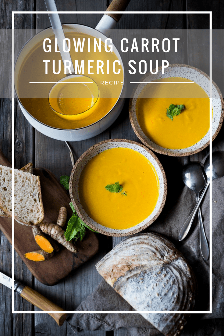 A delicious, healthy recipe for Glowing Carrot Ginger Turmeric Soup with Coconut Milk and ginger. Fresh turmeric and mint gives this soup its exotic flavor. Vegan. GF | www.feastingathome.com