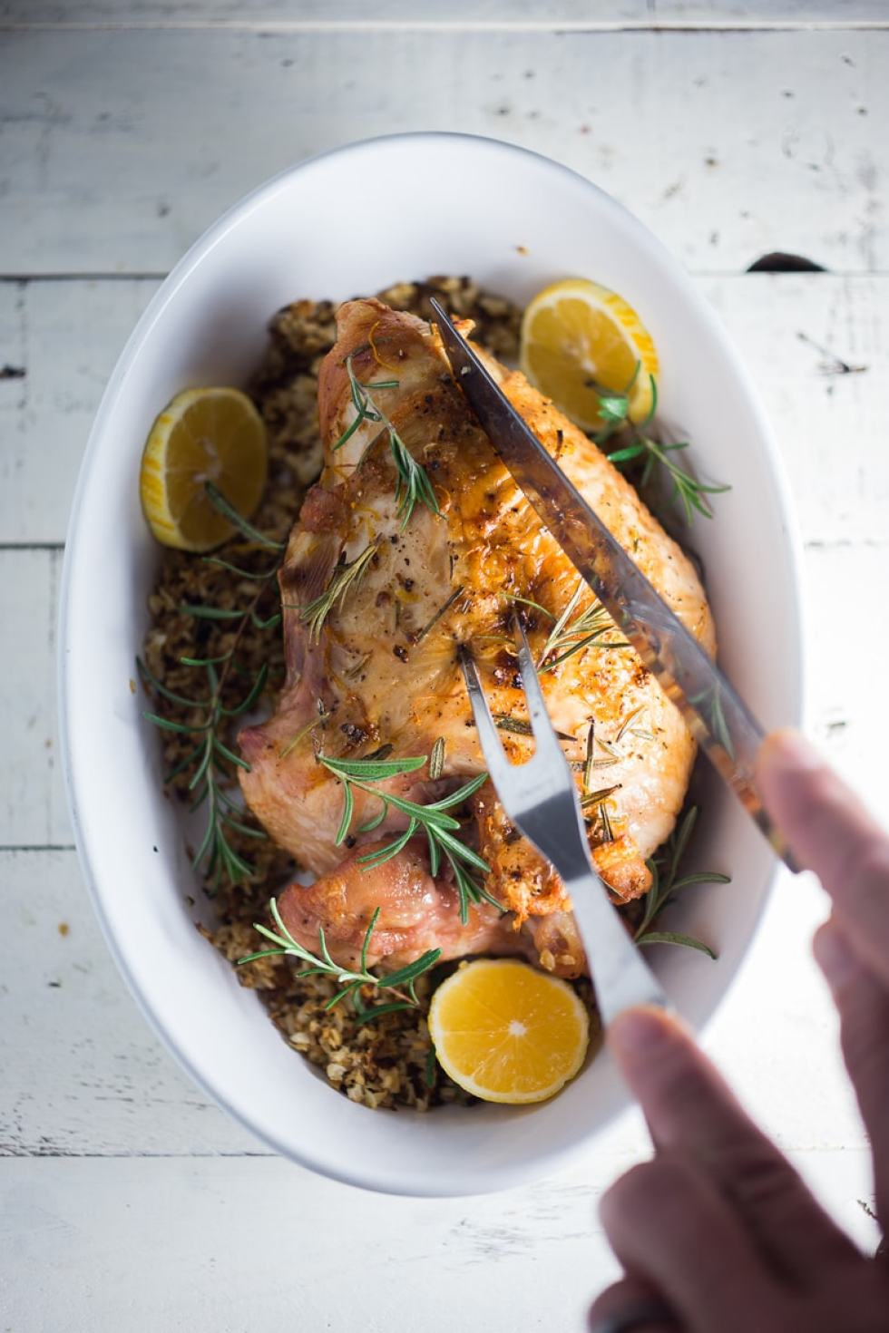 Simple Roast Turkey for Two with Rosemary and Meyer Lemon baked over riced cauliflower. | www.feastingathome.com