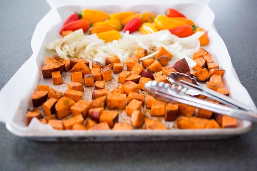 Sheet Pan Burrito Bowl- vegan and GF