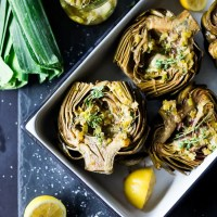 Roasted Artichokes with Lemony Leek Dressing