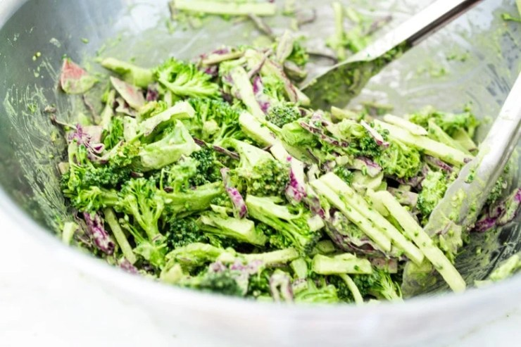 This Creamy Vegan Broccoli Salad is so good, you won't even realize it is vegan!Tossed in a creamy Hemp Dressing- it is easy, healthy and full of flavor! Vegan and Keto! #hempdressing #hemp #broccolisalad #keto #vegansalad #ketosalad