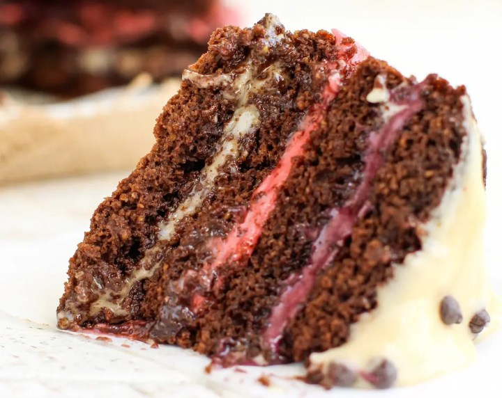 Fruit Frosted Chocolate Layer Cake - FeastingonFruit.com