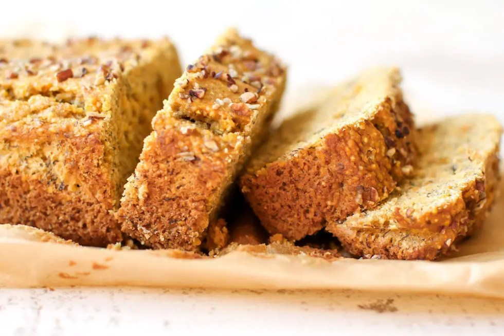 Maple Cornmeal Banana Bread - FeastingonFruit.com