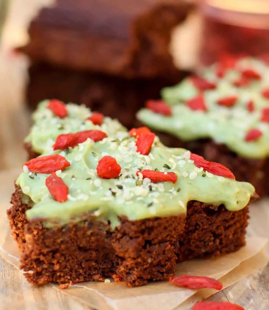 Vegan Christmas Tree Brownies - FeastingonFruit.com
