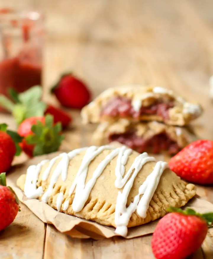 Strawberry Banana Pop Tarts (vegan + GF) - FeastingonFruit.com