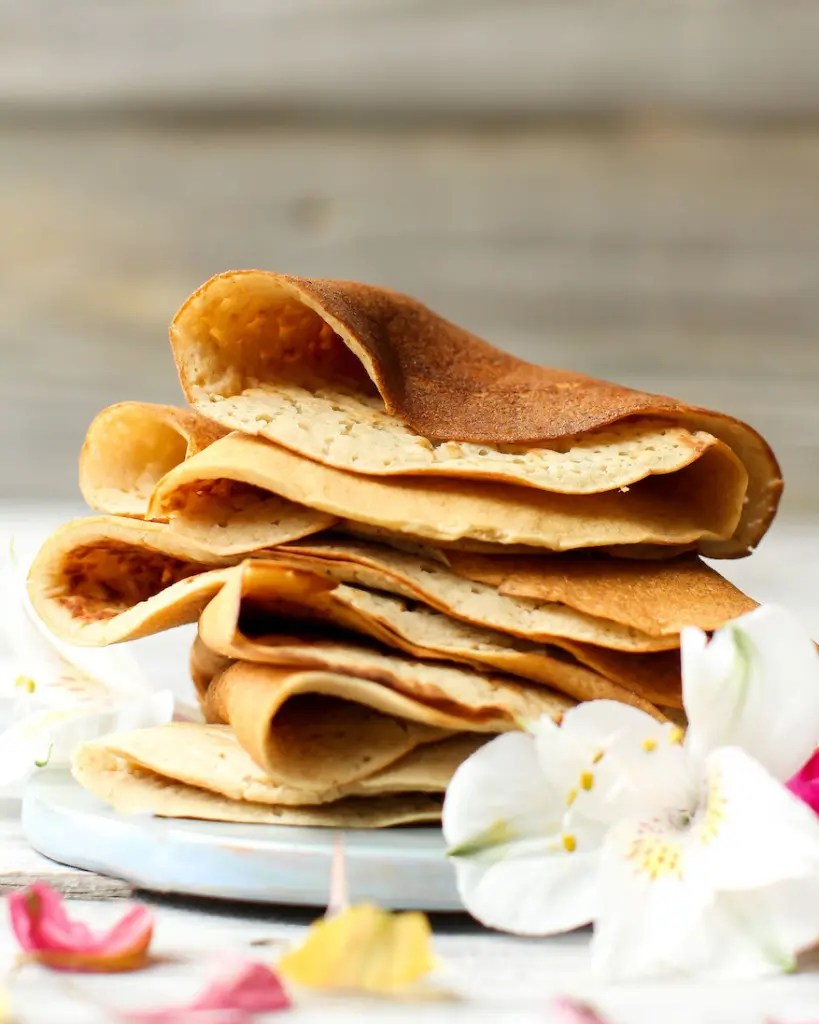Sweet Oil-Free Crepes (vegan + gf) - FeastingonFruit.com