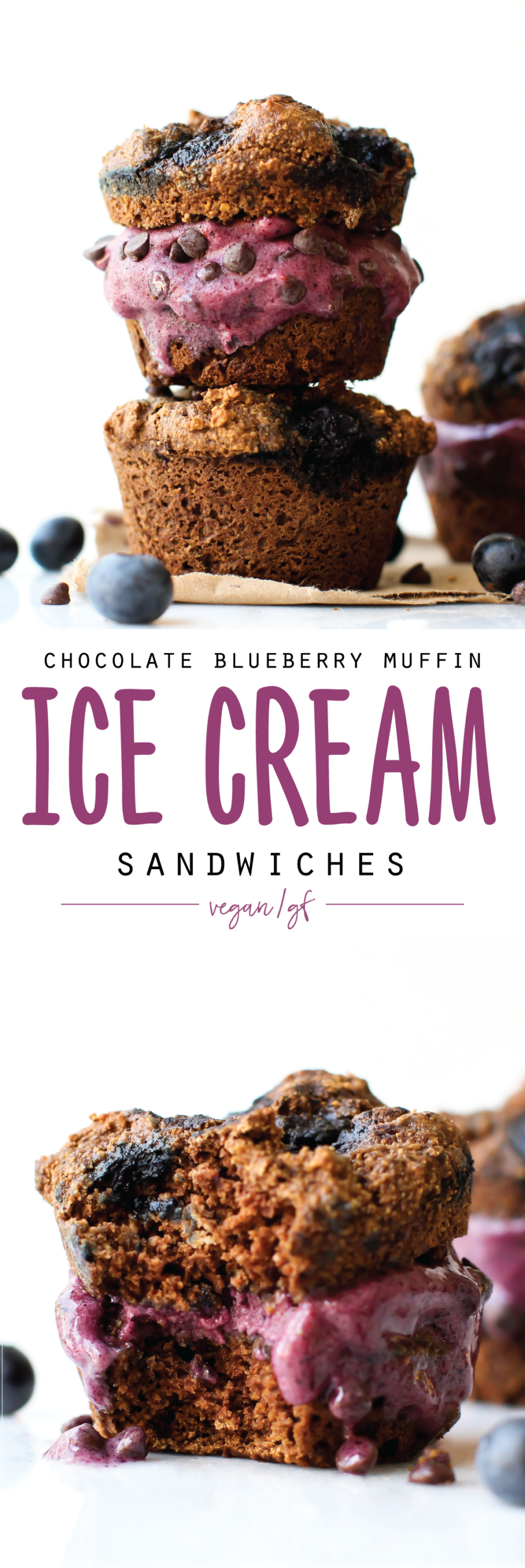 Blueberry muffins are good, but CHOCOLATE blueberry muffins turned nicecream sandwich are a whole different extra delicious story! Get the recipe plus 6 other vegan summer blueberry recipes.