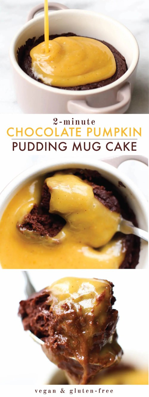 Gooey Chocolate Flourless Mug Cake with Pumpkin Spice Custard