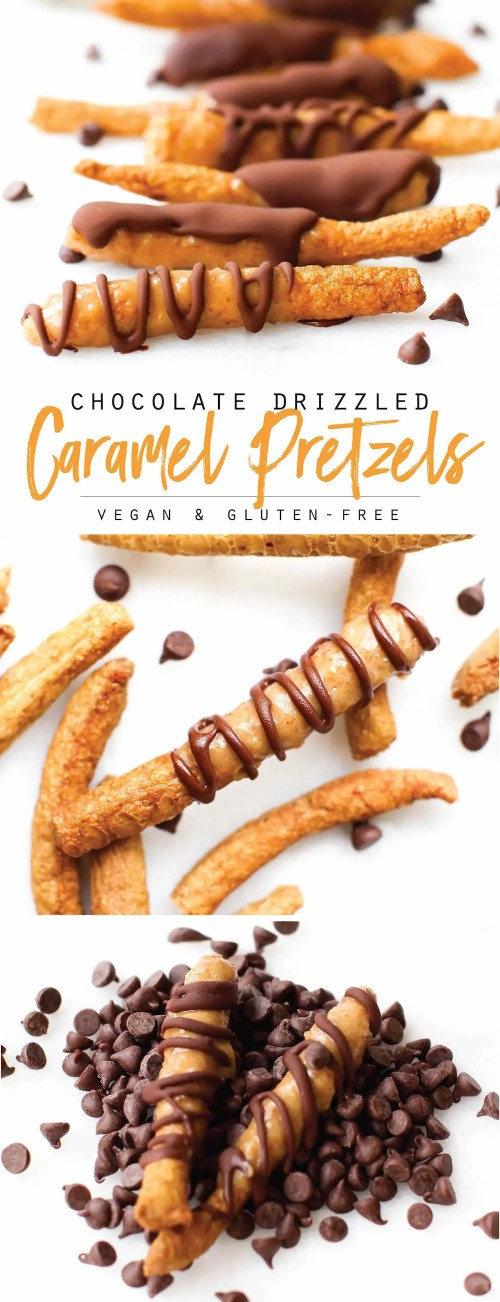 Chocolate Drizzled Salted Caramel Pretzels {vegan}
