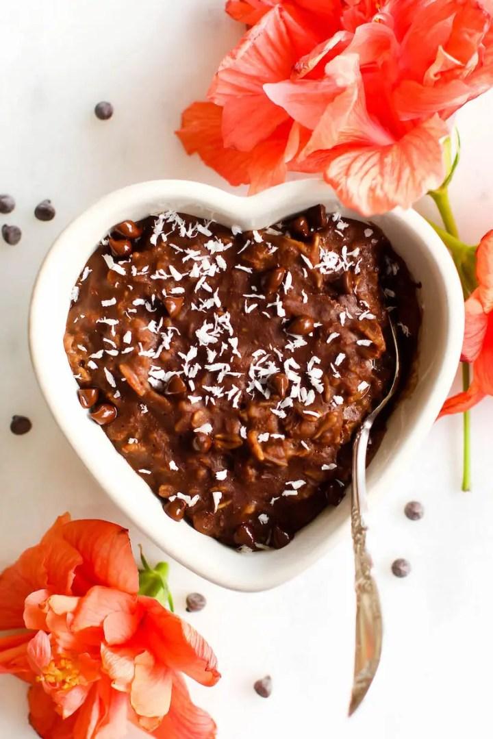 Fudge Brownie Oatmeal {healthy, vegan, sugar-free}