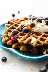 Blueberry Oat Flour Waffles