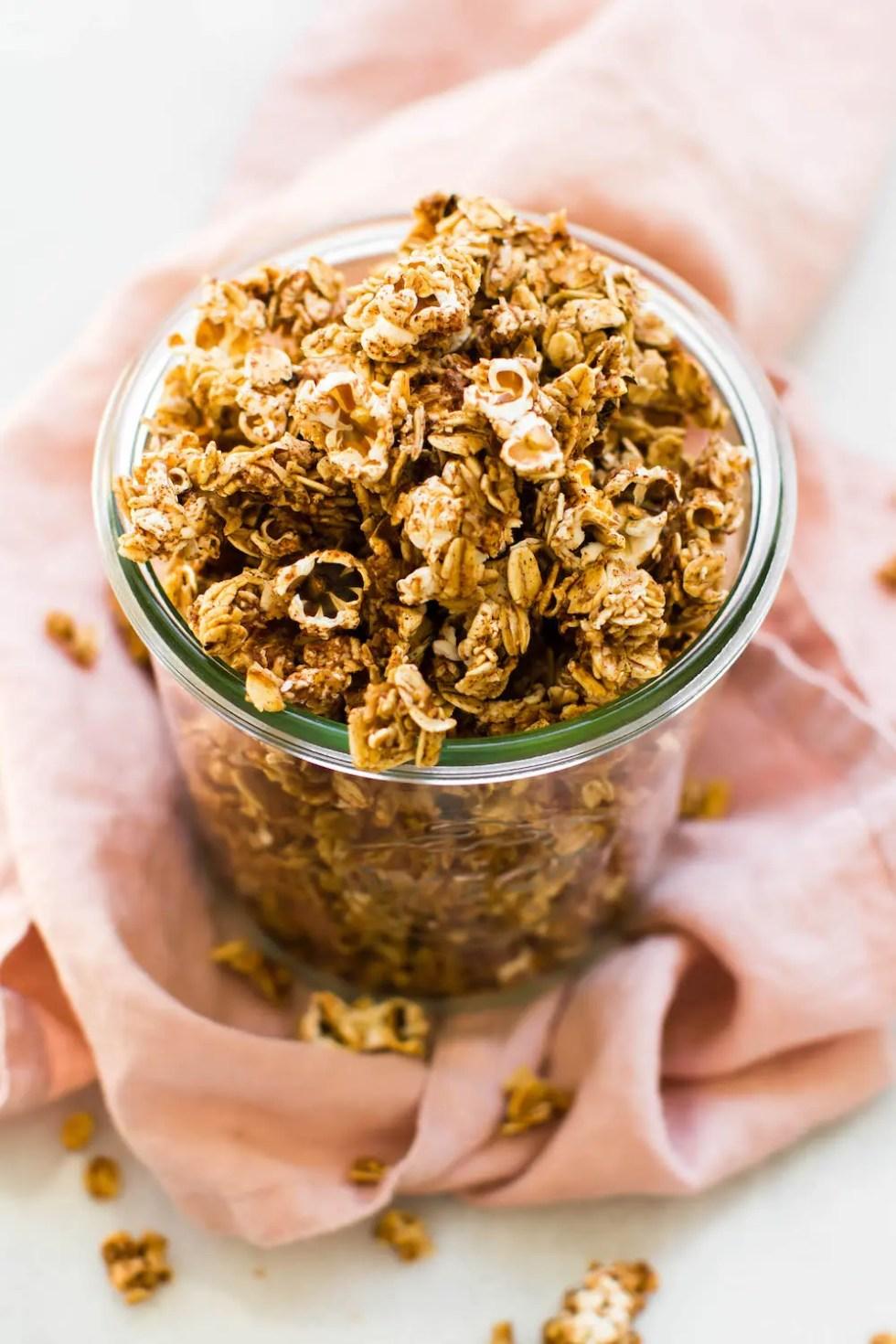 5 Ingredient Popcorn Granola Vegan Gluten Free Oil Free