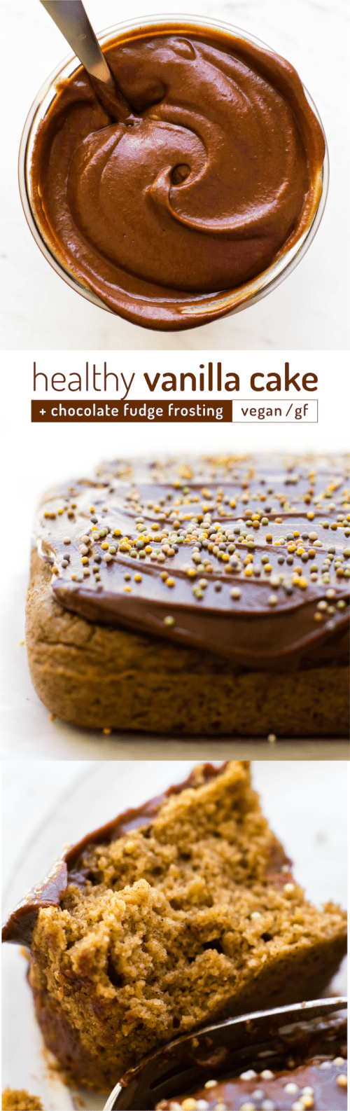 Healthy Vanilla Cake with Chocolate Fudge Frosting