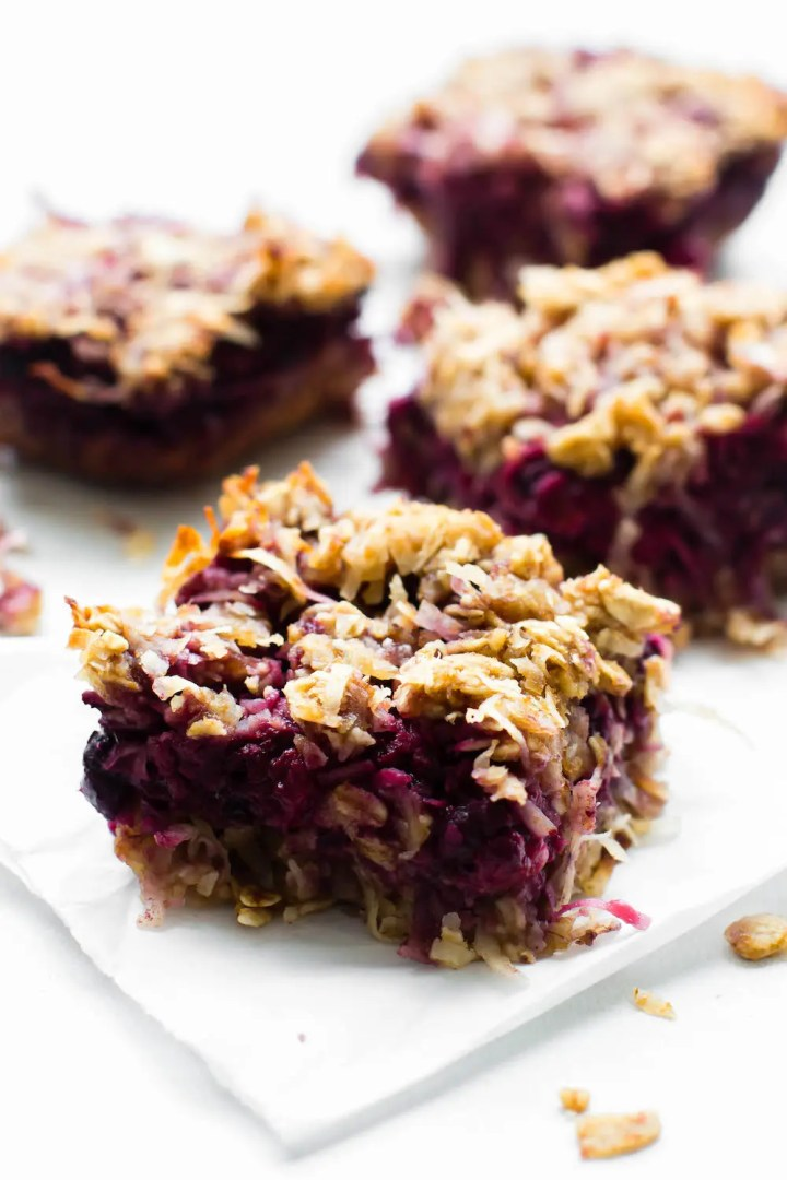 Chewy Coconut Berry Crumble Bars {vegan, gluten-free, oil-free}