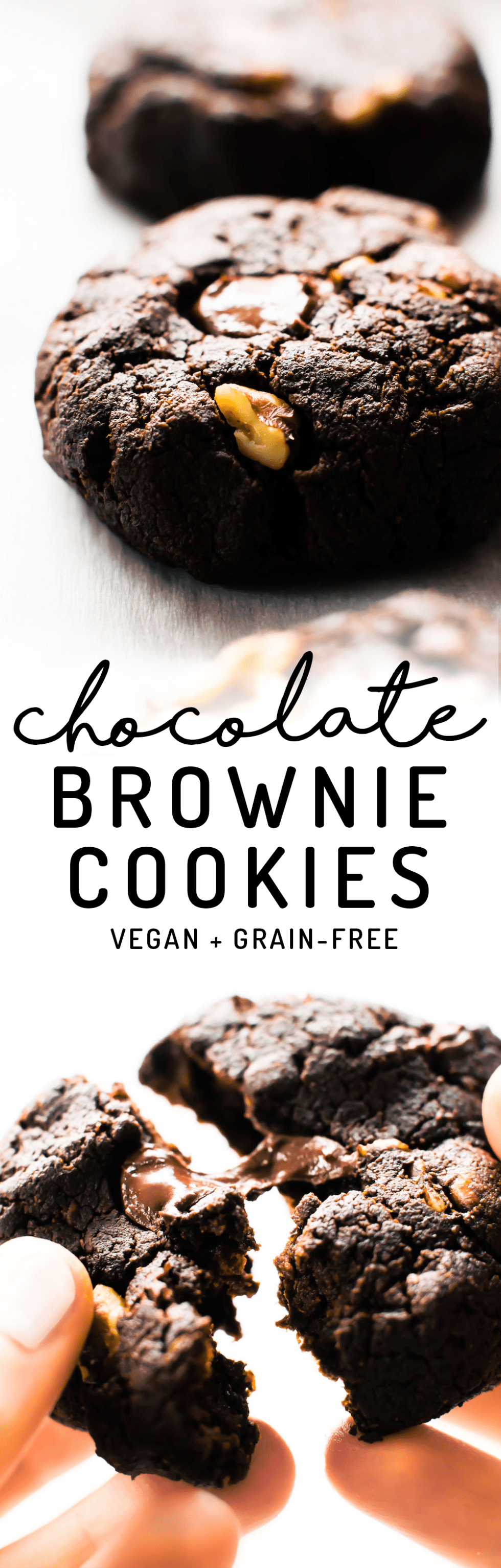 A healthy dessert hybrid loaded with gooey chocolate chips, walnut chunks, and so much fudgy flavor! #vegan #paleo #chocolate