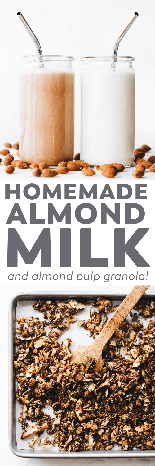 Homemade Almond Milk + Almond Pulp Granola