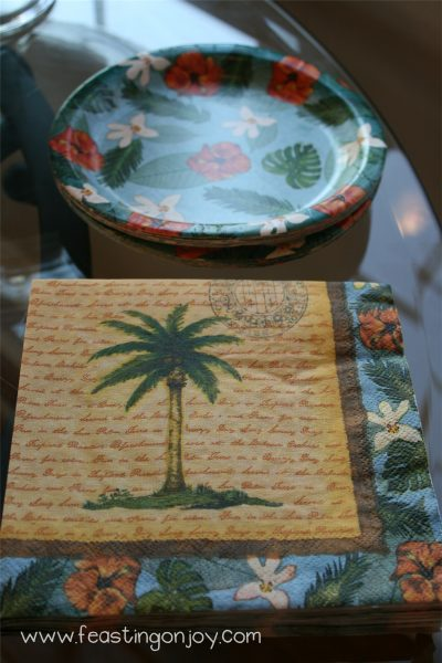 Dessert plates and napkins for luau party