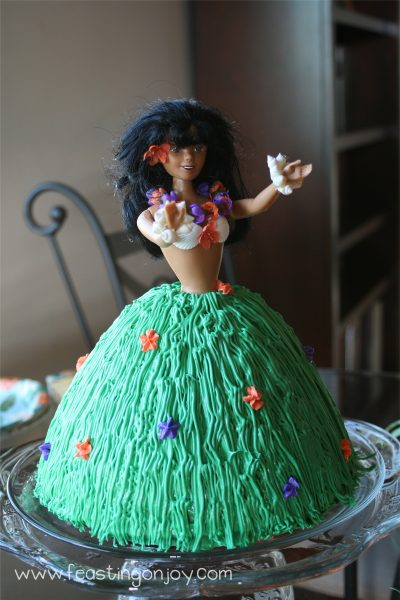 Luau birthday party cake dancing girl