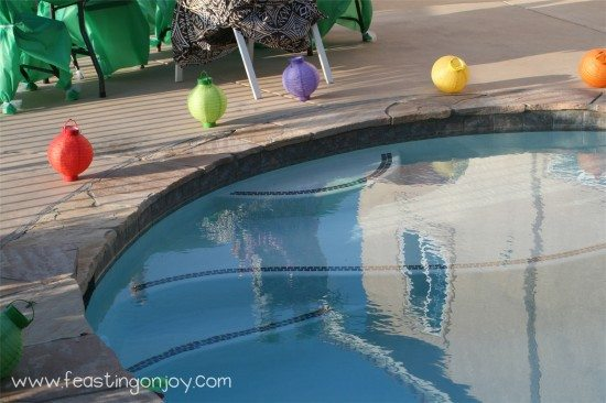 Pool decorations for Luau birthday party