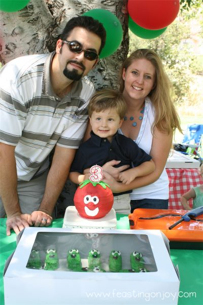 Steve and I with Corbin at his veggies tales birthday