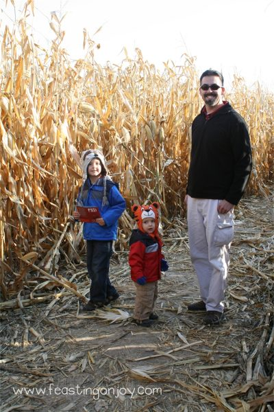 Boys in the corn maze