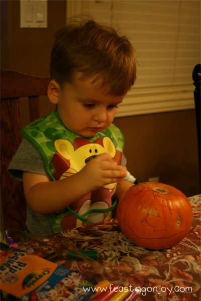 Cody coloring pumpkin