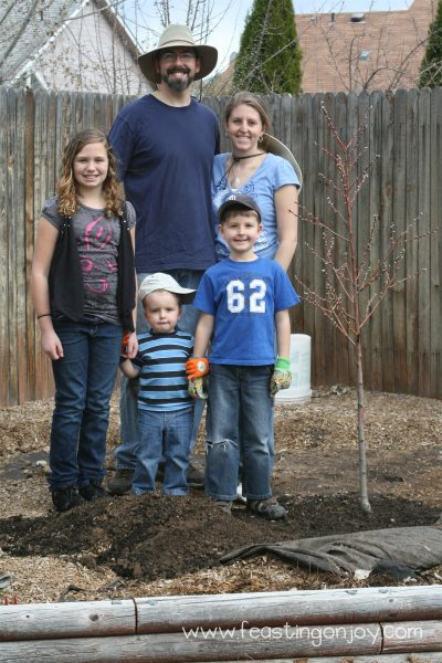 Planting our peach tree