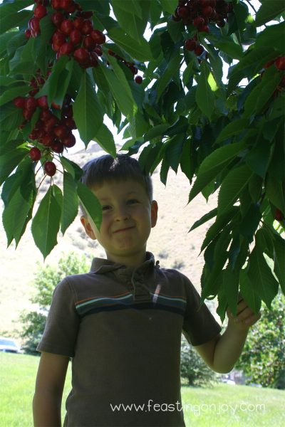 Corbin eating a Cherry