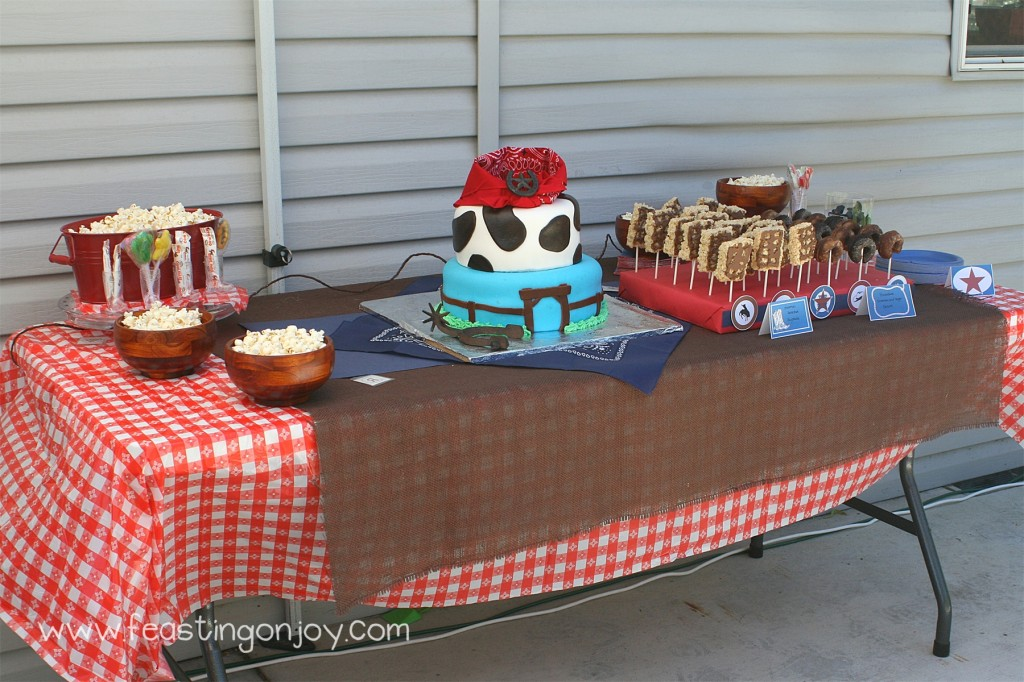 Cowboy Birthday Party Snack and dessert table