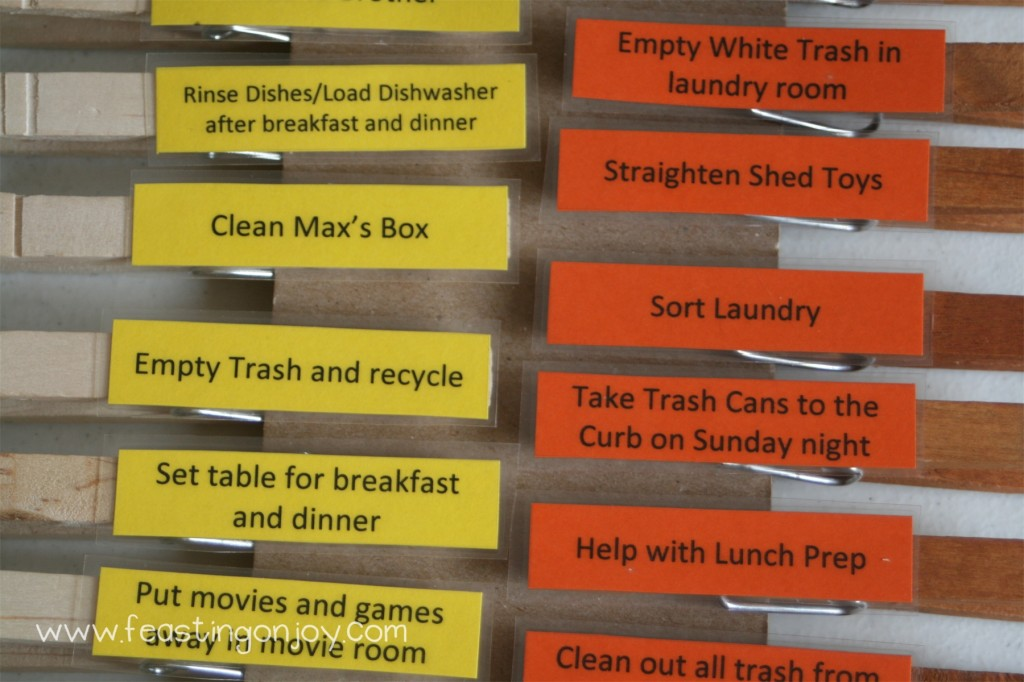 closeup of chore clothespins