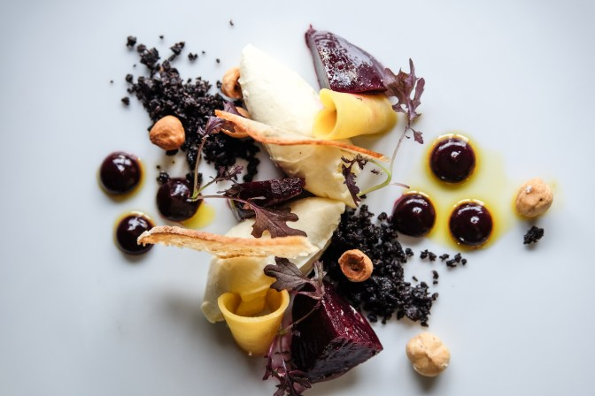 Goat's curd with marinated beetroot