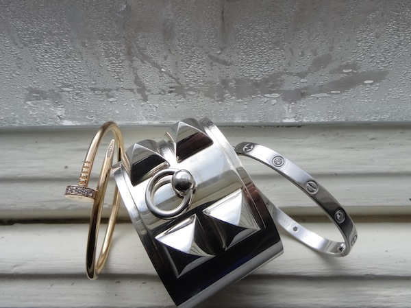 Cartier Juste en Clou, Hermes CDC and Cartier Love bracelets