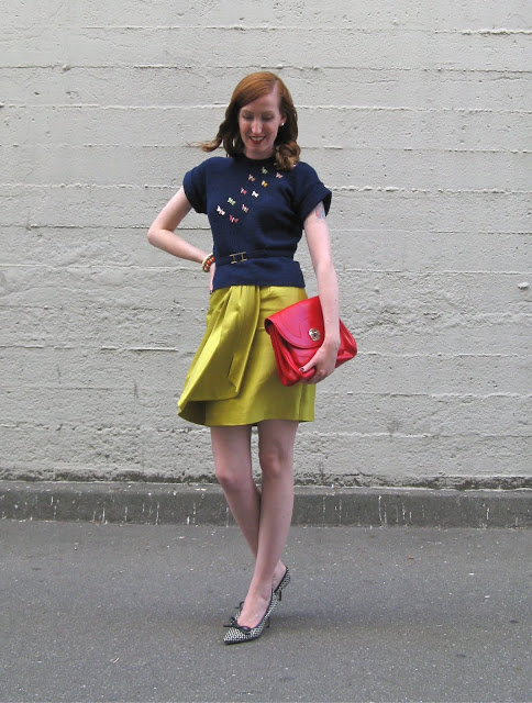 Cuffington in a vintage top and Lela Rose skirt