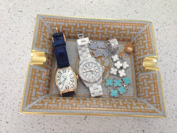Hermes tray of jewelry