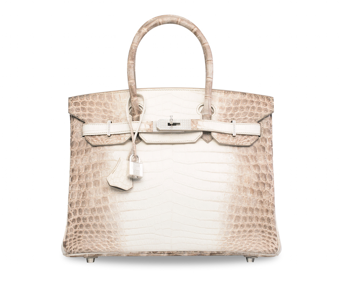 Price for most expensive handbag sold at auction: US$300,000 A Matte White Himalaya Niloticus Crocodile Diamond Birkin 30