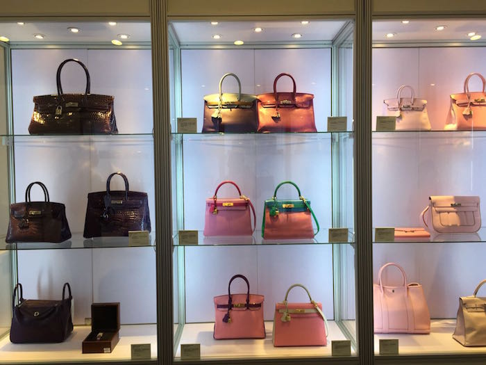 Another installation shot of a Christie's handbags preview