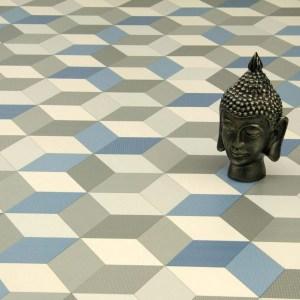 cubes blue vinyl flooring