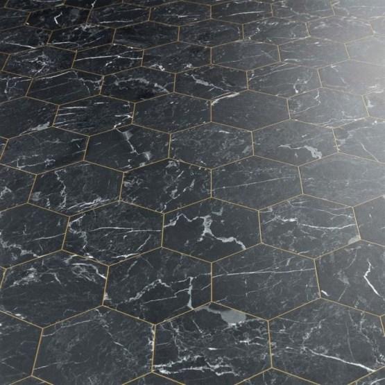 Marble Hex Black Sheet Vinyl Flooring