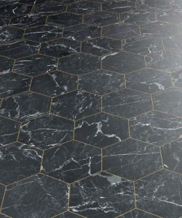 Marble Hex Black Sheet Vinyl Flooring