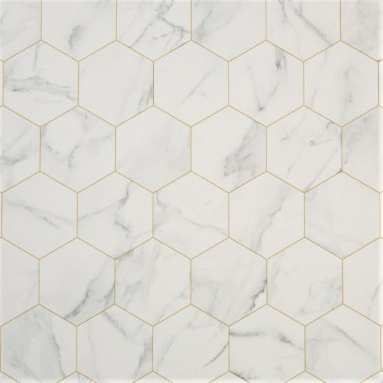 Marble Hex White Sheet Vinyl Flooring