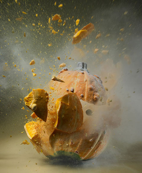 Photographer Martin Klimas fires a projectile into fruits and vegetables