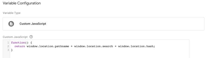 สร้าง Variable มา 1 ตัว แบบ Custom Javascript แล้วเลือกใส่ชุด code ตามที่เราต้องการ