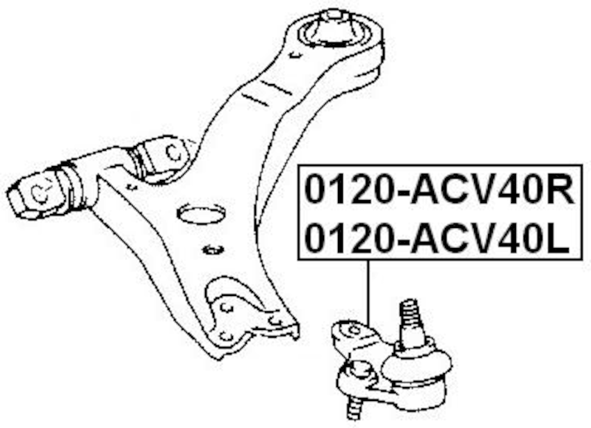 Right Lower Ball Joint FEBEST 0120-ACV40R OEM 43330-39775