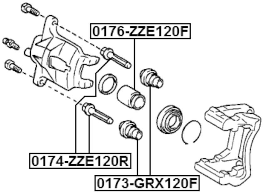 Bushing Dust Boot Front FEBEST 0173-GRX120F OEM 47775